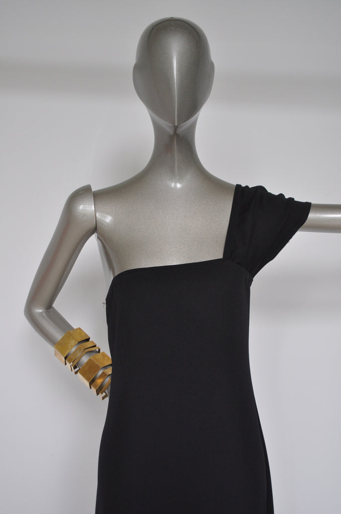 Rudi Gernreich ready to wear asymmetric off shoulder dress