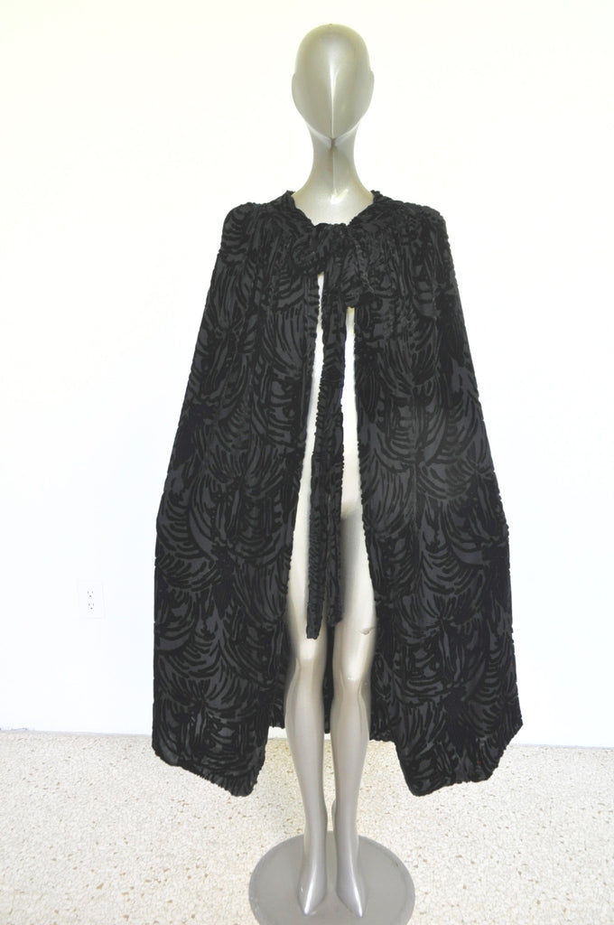 20s chiffon opera cape with panne velvet imprint geometrical deco embroidery.