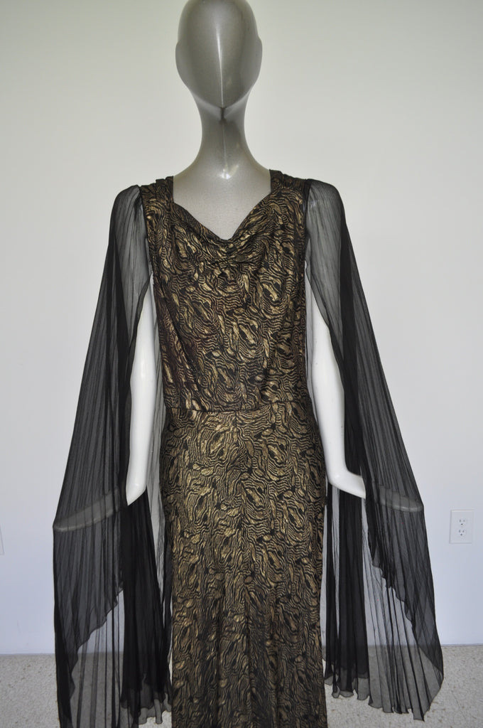 1930s Gold Lame Gown with train and pleated batwing chiffon sleeves Gold Lame Bias cut gown