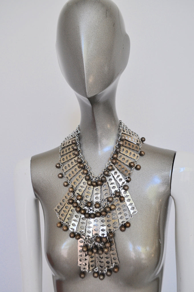 Vintage 70s chunky metal disc necklace,avantgarde runway design