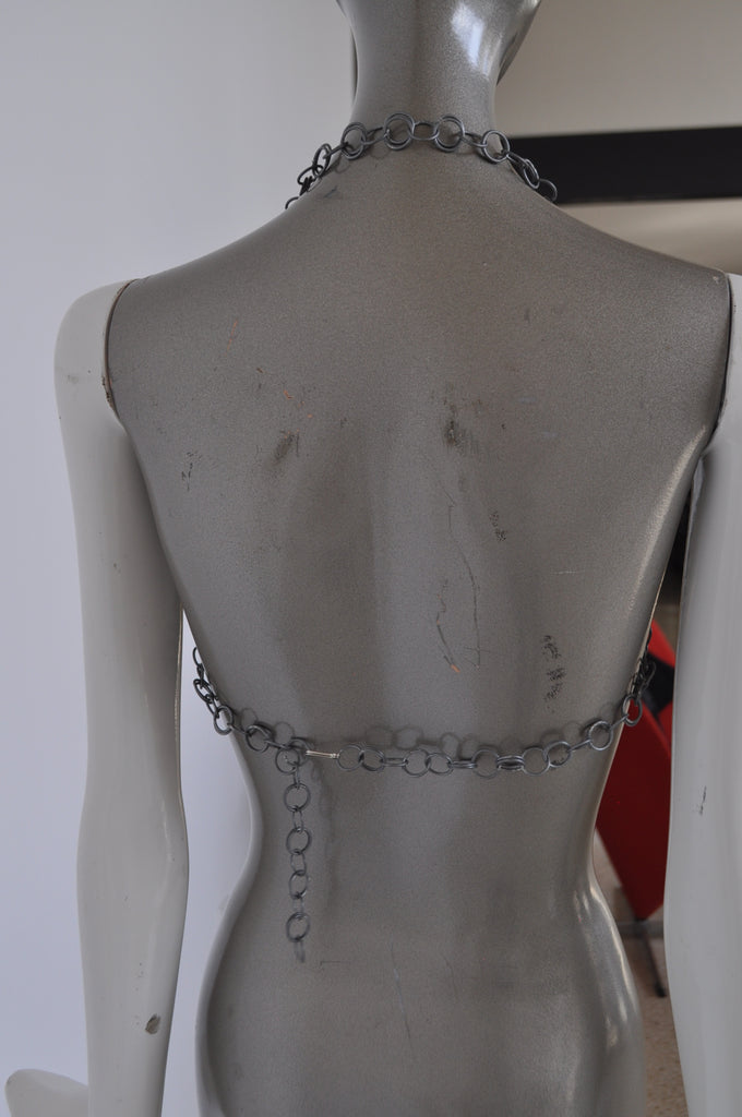 Metal mesh Bra with drop chains, very sexy. Original from the 70s