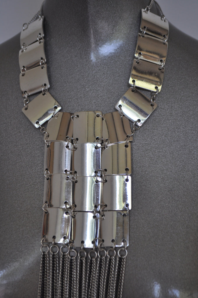 80s Chunky Avantgarde metal necklace very Rabanne