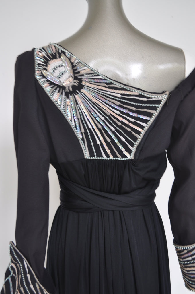 Bill Gibb empire maxi dress with beadwork 1970s rare