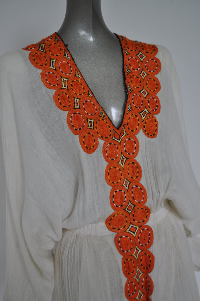 Ethiopian handmade kaftan with head wrap. 1970s