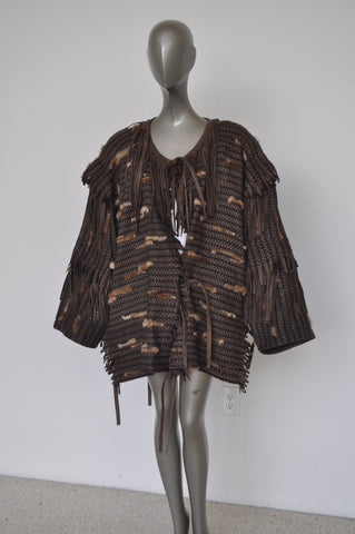 Handpainted silk jacket kaftan style dupion silk and linen 70s