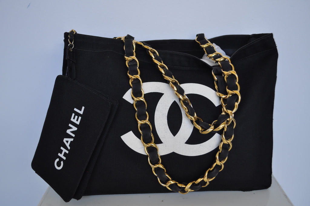 Vintage Chanel canvas monogram tote with pochette chainlink strap