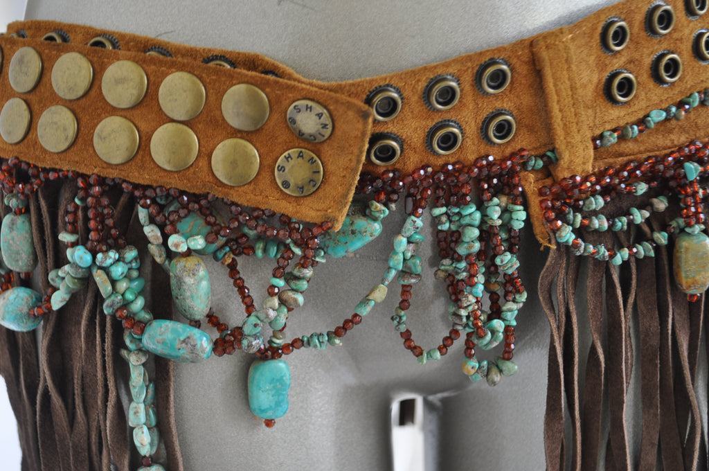 Fringed beaded belt with Turquise stoned and christal beads 80s Shanica