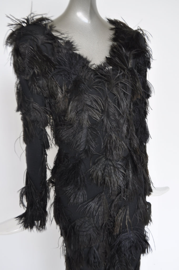 Feathered jumpsuit from the 80s