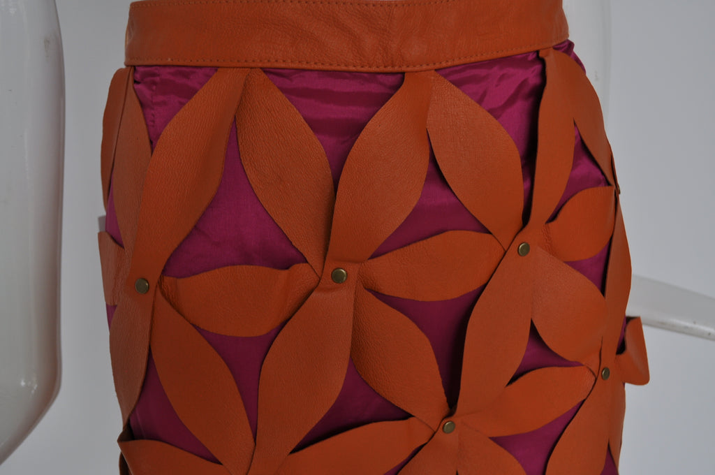 Great unusual leather skirt early 2000 By Giorgio Mobiani