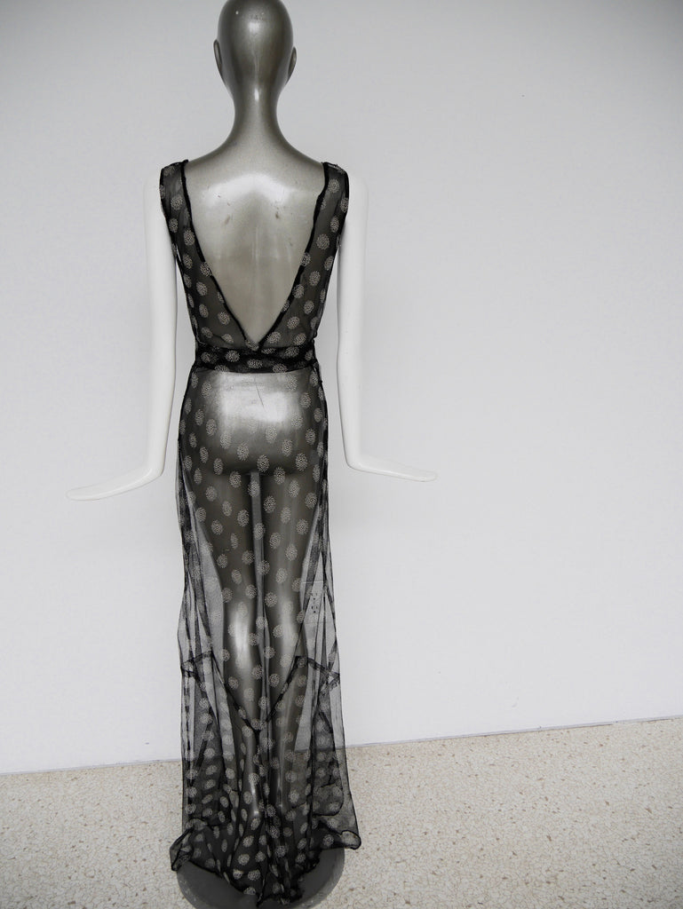 Vintage 30s tull bias cut gown with abstract print design. Sleek Jean Harlow style