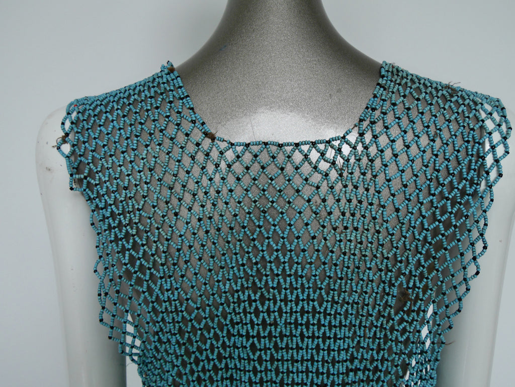 1970s ceramic beaded ethnic top, 1970s West Africa tribal style