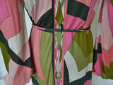Vintage Emilio Pucci silk dress ,deep v cut puffy sleeves.