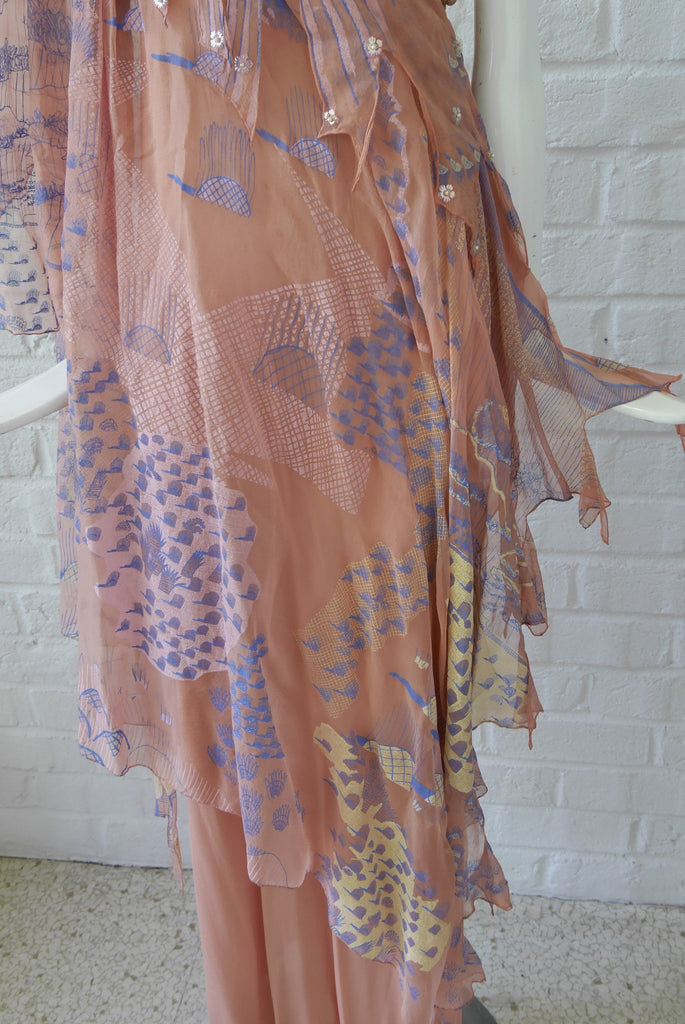 Zandra Rhodes handpainted off shoulder chiffon dress. Vintage Zandra Rhodes gown.
