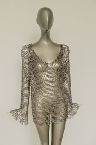 Azzaro top with chainmail apliques 70s