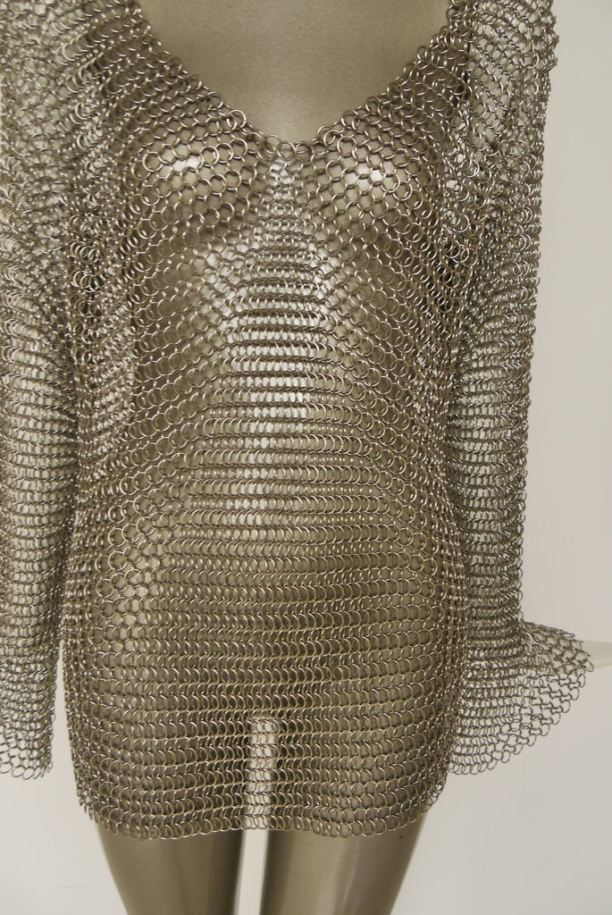 1970s Chain mail mini dress/shirt with bell sleeves
