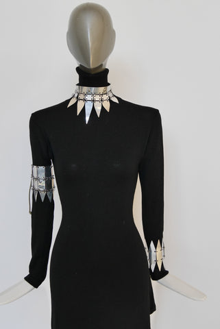 Avant-garde metal belt by KYRA unusual design 80s