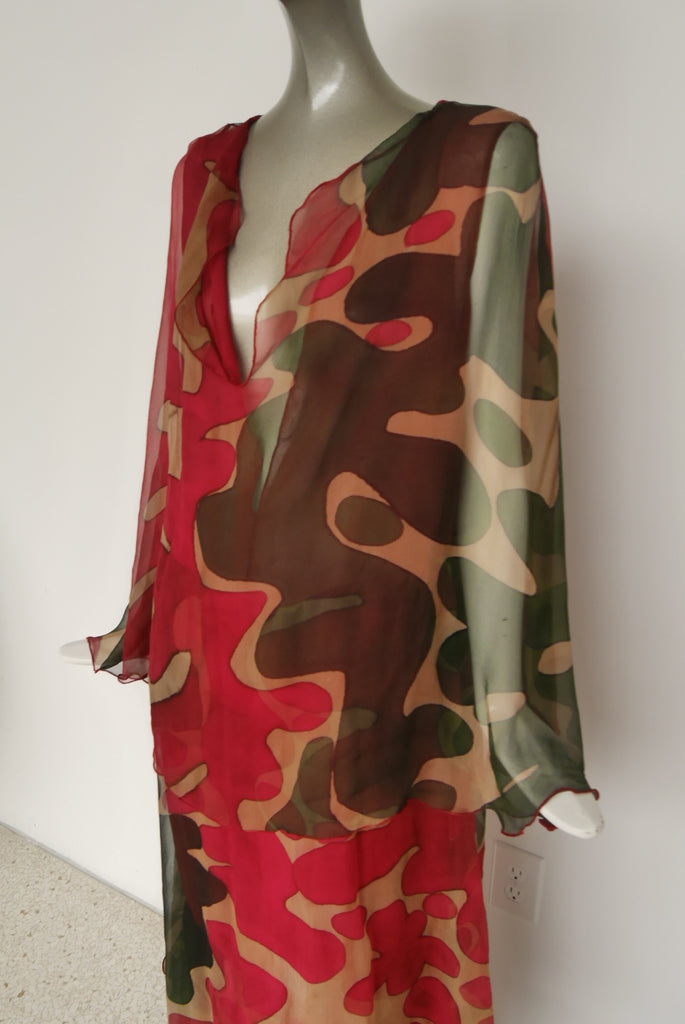 Hanae Mori chiffon kaftan maxi dress, deep v vibrant colors and print.