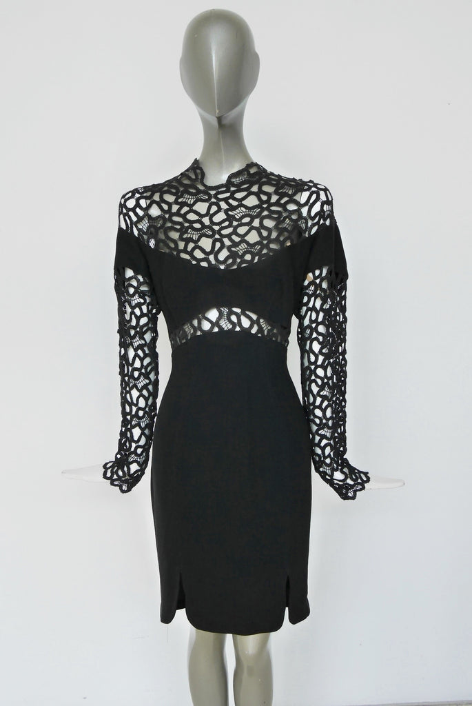 Thierry Mugler avant garde dress with crochet bust and sleeves.