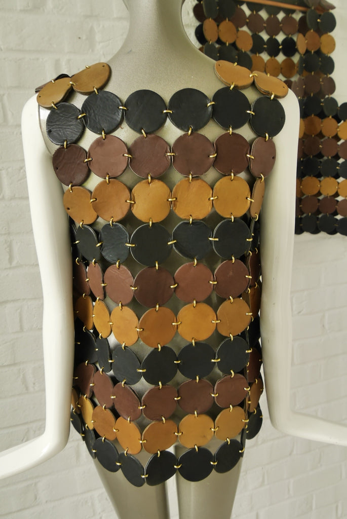 Paco Rabanne tooled leather vest. Hers 1970s