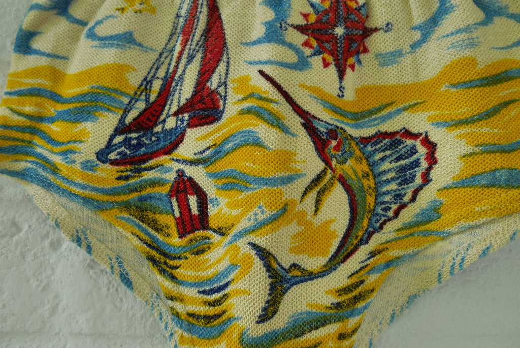 Rare 1930s boy swim trunk dead stock . Shark fish print