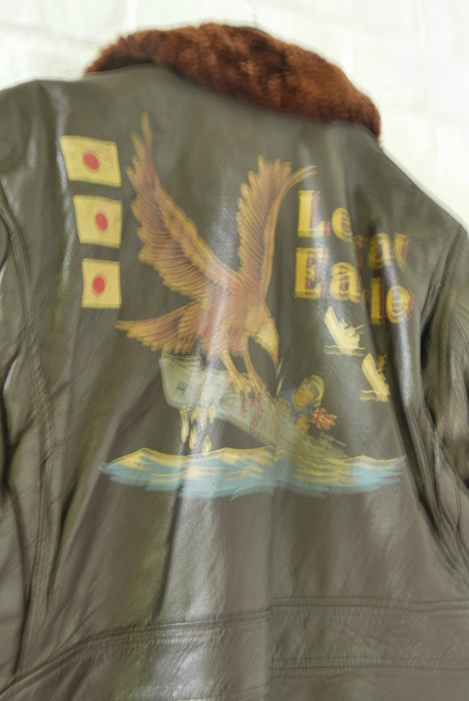 WWII type g flight Jacket with great handmade painted  design