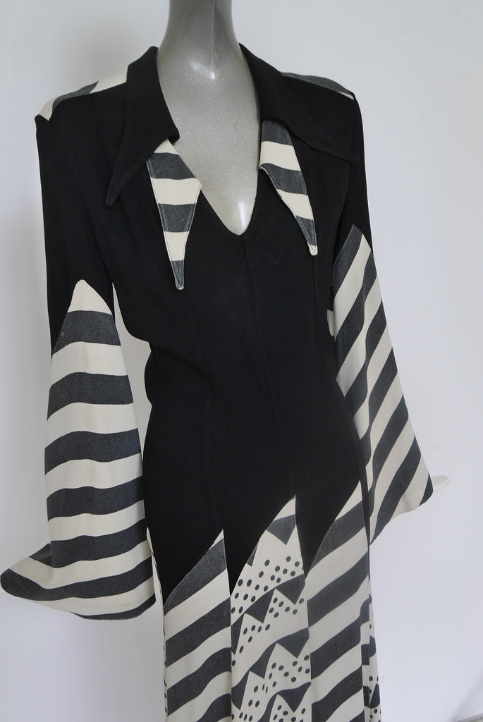 Ossie Clarck maxi dress abstract print by Celia Birtwell  SOLD