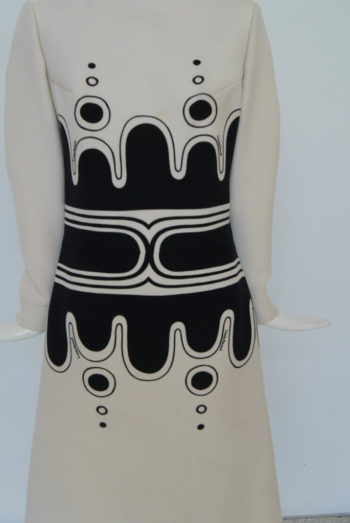 Louis Feraud mod dress 1960s great graphic print