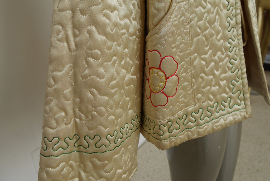 1940s silk satin bed jacket with amazing embroidery and huge bell sleeves