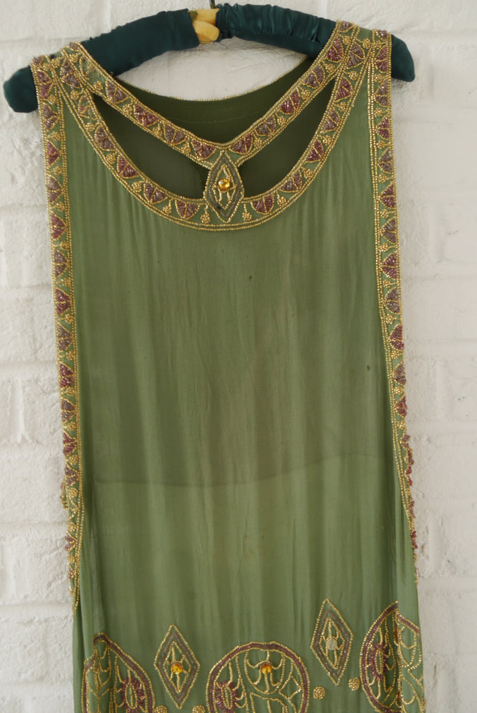 1920s beaded chiffon flapper dress