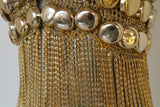 Loris Azzaro chained top rare design gold tone chains and lurex.