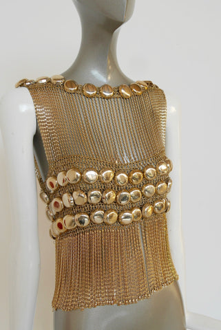 Metal Mesh dress 1970s fantastic design all handmade Paco