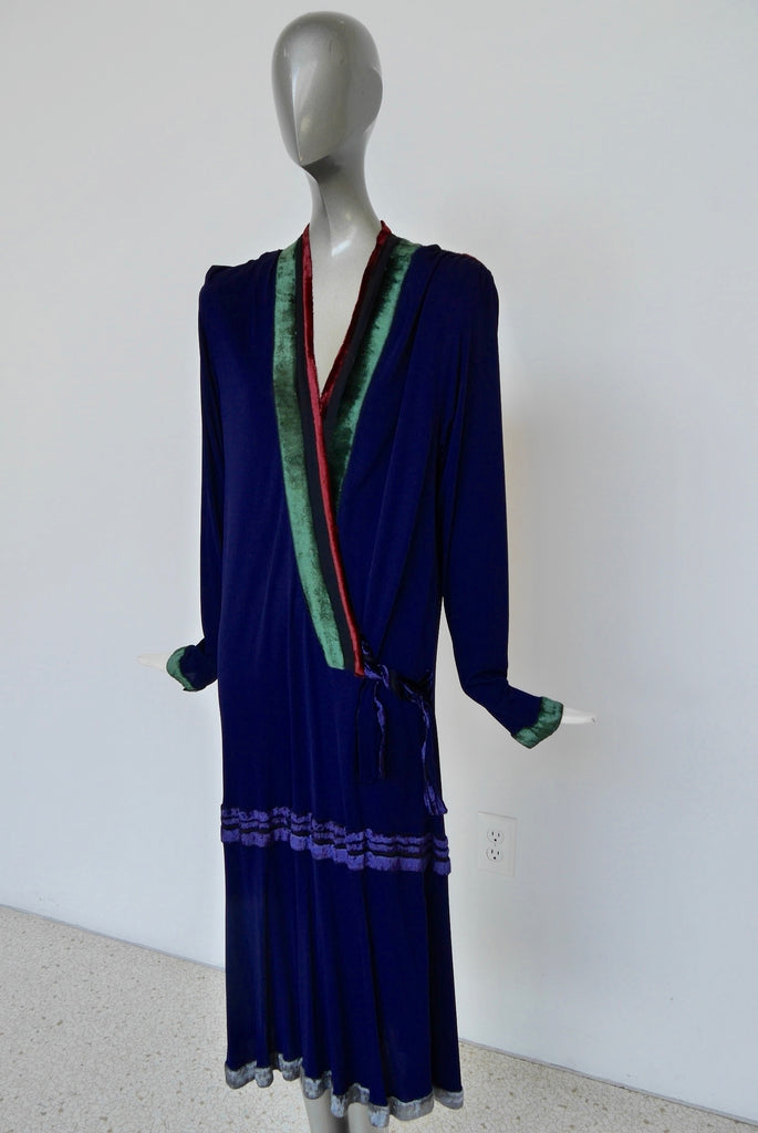 Janice Wainwright silcrepe flapper style dress 1970s