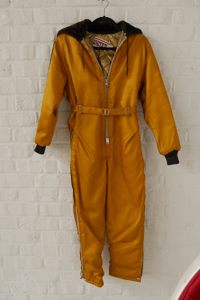 United Ski suit insulated 1950s  Vintage hooded ski suit
