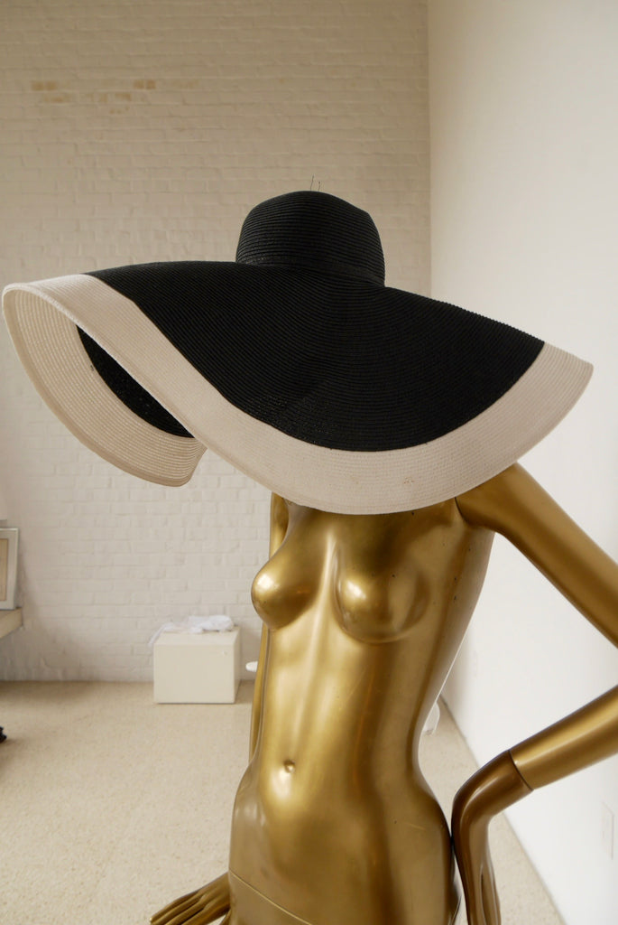 SOLD Couture oversized woven hat 1970s