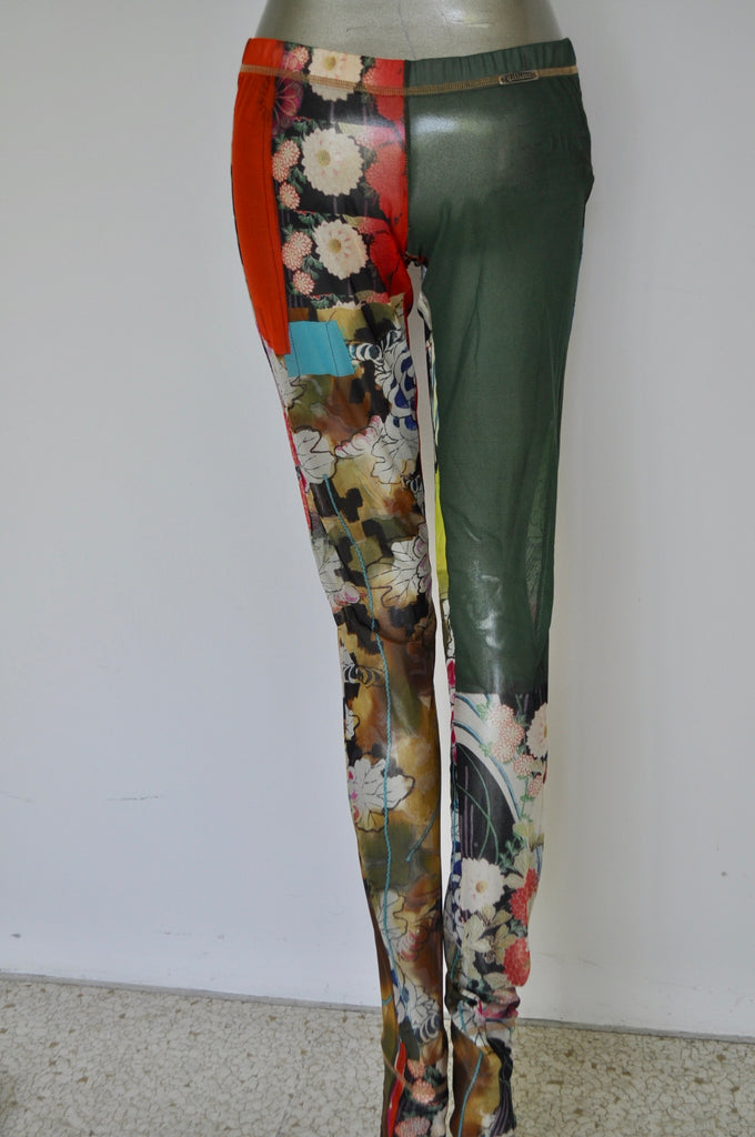 John Galliano sheer leggings with floral print late 90s
