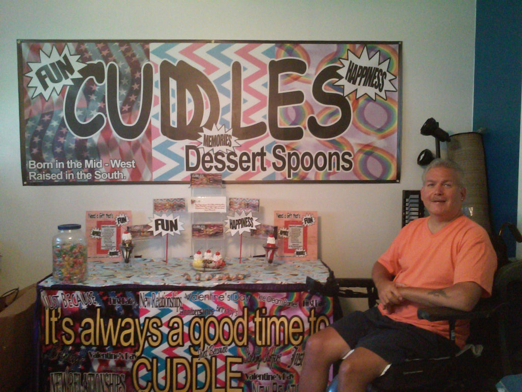 First Trade Show Display for Cuddle Spoons. Cuddling Couples Spoon Set