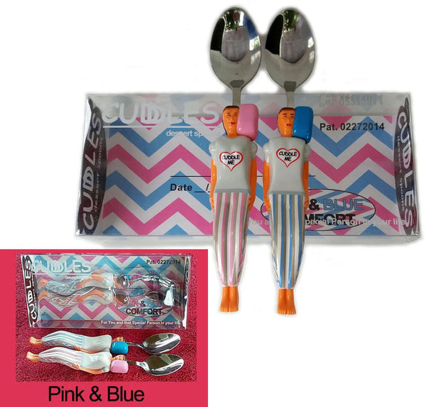 #2 Pink & Blue - Cuddle Spoons set in Custom Gift Box $14.95.