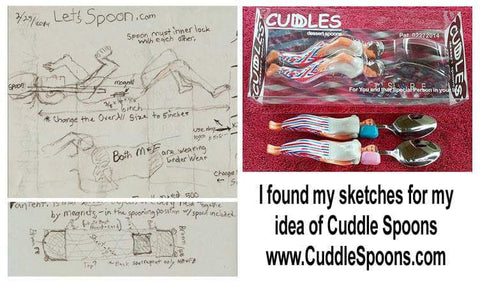 Sketches and the finish product - Cuddle Spoons