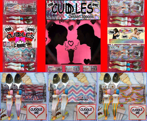 Cuddle Spoons 3 sets - Stars & Stripes, Pink & Blue and Rainbow Free.
