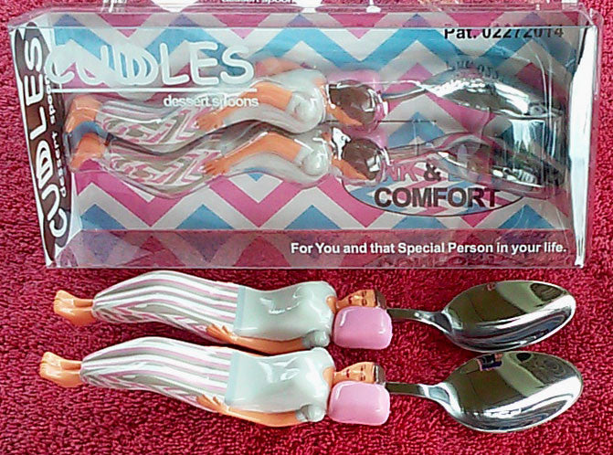 Pink & Blue Cuddle Spoons Set - Female (Pink Pillow) + Female (Pink Pillow) Spoon Characters Cuddling in the Custom made Bed Display Box