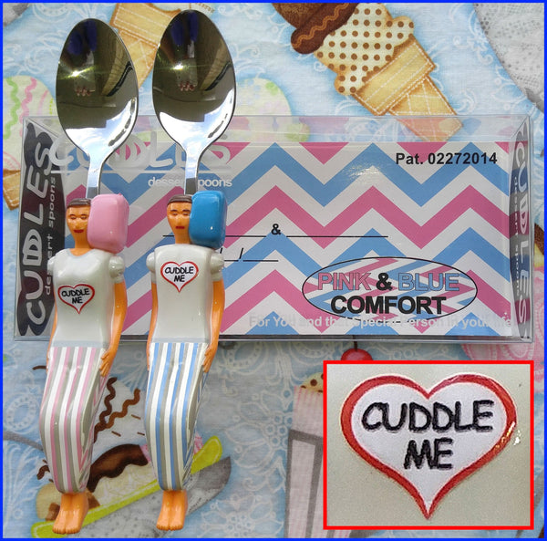 Pink and Blue Cuddle Me Spoons on the Custom Bed Display Box - Gift for Couples & Singles in any Relationship.