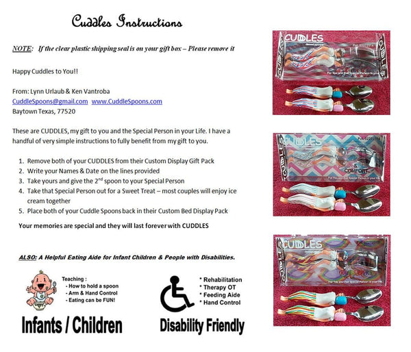 Cuddles Instruction Sheet - FREE with every set of Cuddle Spoons, Stars & Stripes, Pink & Blue, Rainbow Free.