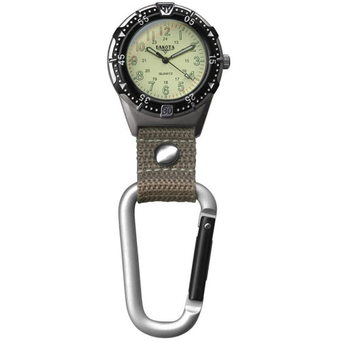 Backpacker Watch Cream Military Dial Carabiner Fob Nurse Dakota 38676