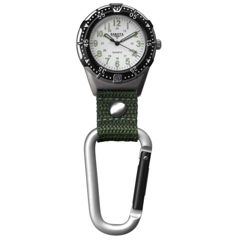 Backpacker Watch White Military Dial Carabiner Fob Nurse Dakota 38685