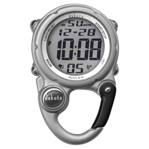 Digiclip Mini Digital Nurse Watch Light-Up Silver Carabiner Dakota 30936