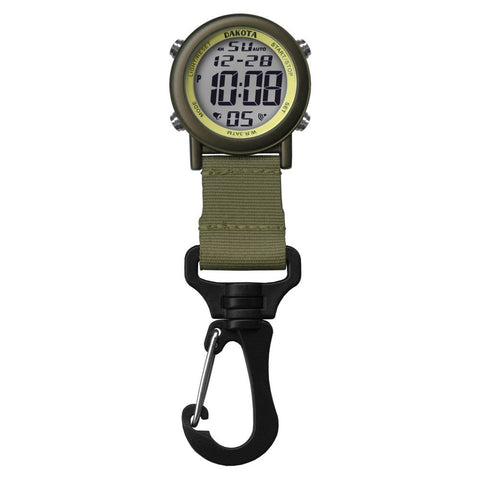 Digital Backpacker Watch Light-up Green Fob Clip Nurse Dakota 28821