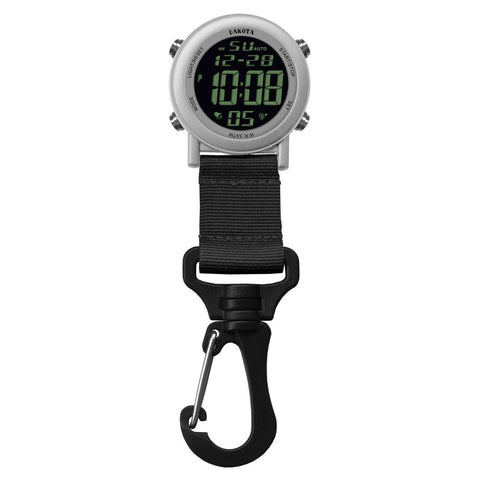 Digital Backpacker Watch Light-up Silver Fob Clip Nurse Dakota 28812