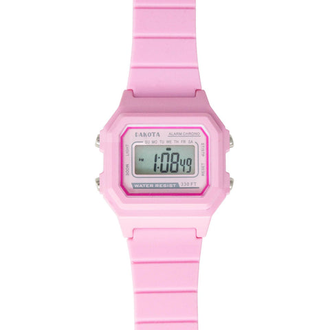 Digital Calendar Nurse Watch Pink Silicone Band Light-Up Dakota 36734