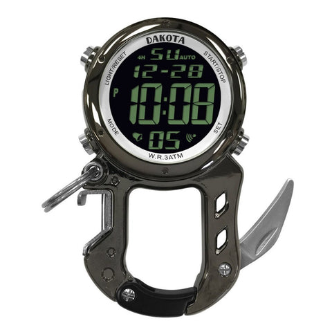 Digital Zipclip Stop Watch Light-Up Black Carabiner Knife Dakota 30972