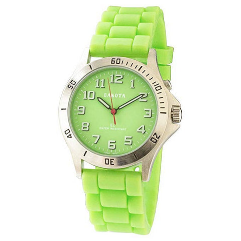 Nurse Watch Light-Up Dial Luminescent Green Silicone Band Dakota 53843